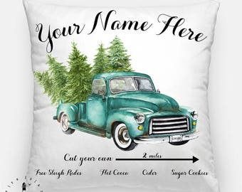 Vintage Christmas Truck PillowCover, Christmas Tree Farm Pillow, Christmas Decor, Personalized Pillow, Christmas Throw Pillow, Farmhouse