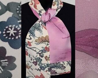 Silk Scarf Women's Wrap Vintage Japanese Kimono Fabric Bingata Shading