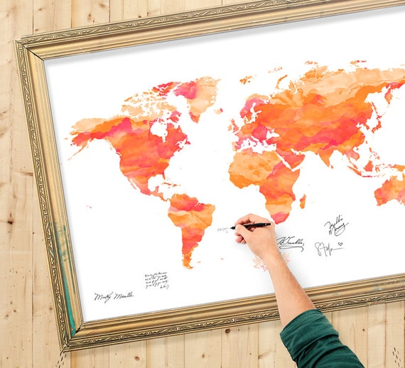 Wedding guest book world map watercolor custom color add gumiabroncs Images