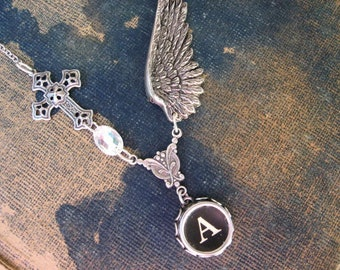 Wing and a Prayer, Typewriter Key Necklace Initial A,  Typewriter Key Jewelry Letter A, Typewriter Charm Letter A