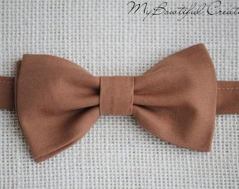 Brown bowtie, Hazelnut brown bow tie, mens bow tie, boys bow tie, pre-tied bow tie, brown wedding, groom bow tie