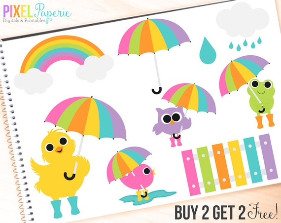 spring clip art clipart rain rainy day umbrella rainy day friends rh etsystudio com digital clipart for ebook digital clipart for sale