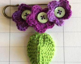 Gypsy style crochet flower brooch