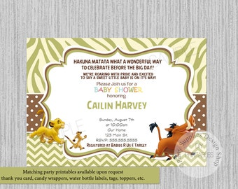 Lion King Simba Baby Shower Invitations, Simba Lion King Baby Shower  Invitations, Lion King Baby Shower Invitations Pumbaa Timon Party