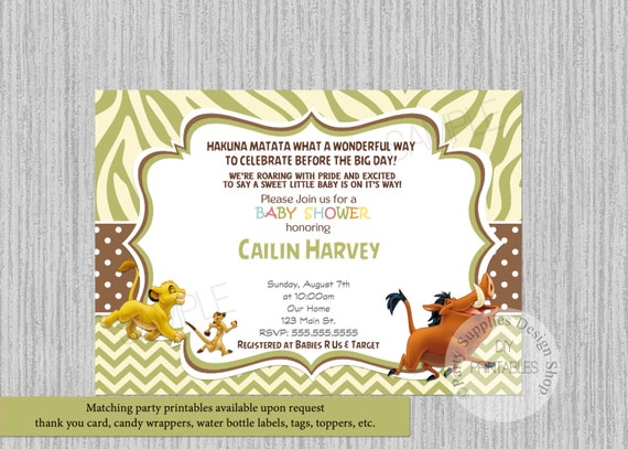 Lion king simba baby shower invitations simba lion king baby like this item filmwisefo Gallery