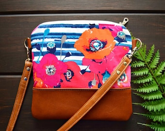 Ready to ship spring crossbody, floral crossbody, poppy floral bag, poppy crossbody, spring crossbody bag, floral bag, genuine leather bag