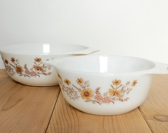 """Pair of Pyrex England """"Woodland"""" Design Casserole Dishes, White with pretty flowers. Oven Safe, Oven to Table Serving Dish"""
