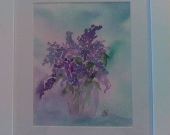 "Burst of Lilac (Lilac Flowers in Clear Vase) 14"" x 11"""