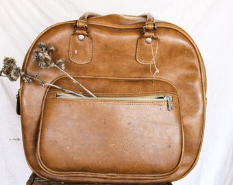 Vintage Distressed Leather Bowling Bag | Vintage Leather Carryon Bag