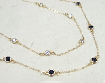 MILKY WAY // CZ, Dainty necklace, five tiny bezel connected, gold filled necklace, elegant and modern, beautiful layering necklace