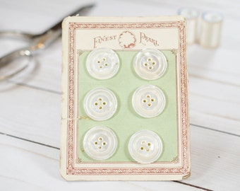 Pearl Vintage Buttons - Vintage Buttons - Pearl Buttons -  White Buttons - Original Buttons on Card - Sewing Notions - Vintage Sewing