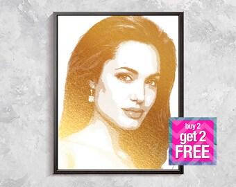 Angelina Jolie Print, Angelina Jolie Gold Print, celebrities portrait, celebrities print, Angelina Jolie portrait, celebrities wall decor