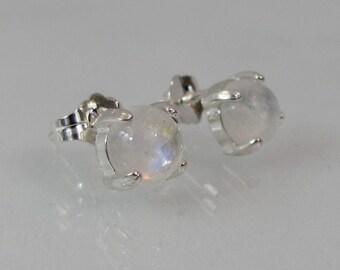 Moonstone Stud Earrings, 6mm Moonstone Earrings, Rainbow Moonstone Jewelry, Sterling Silver, Natural Gemstone Post Earrings, June Birthstone