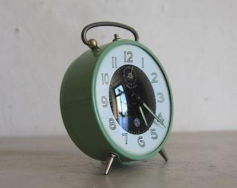Vintage French Smi Alarm Clock Upcycled  Green