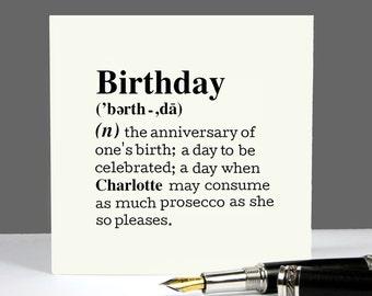 Birthday Card Personalised 'Birthday' Definition Card greetings card Birthday Card Friend Birthday Card Her Birthday Card Him