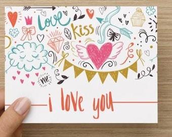 I Love You Card - Doodles