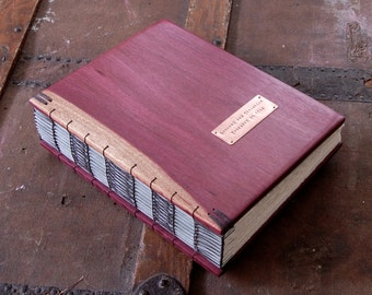 Purple Heart Wedding guest book -  handmade wood guestbook - alternative wedding  heirloom memory book anniversary  - made to order