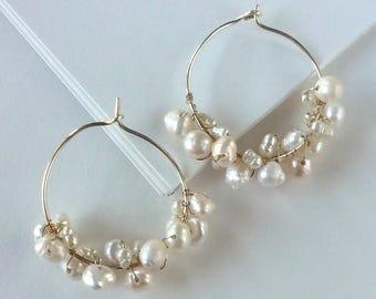 Freshwater Pearl Hoop Earrings - Sterling Silver