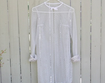 Vintage 60s Mod Retro Sheer Silver Mesh Lace Party Jacket szXS/S