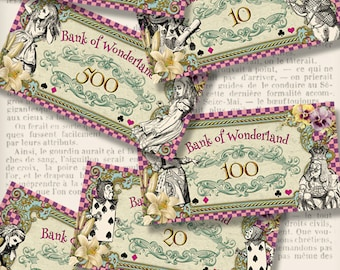 Alice in Wonderland Money printable party decor decoration crafting scrapbooking instant download digital collage sheet - VDMIAL1295