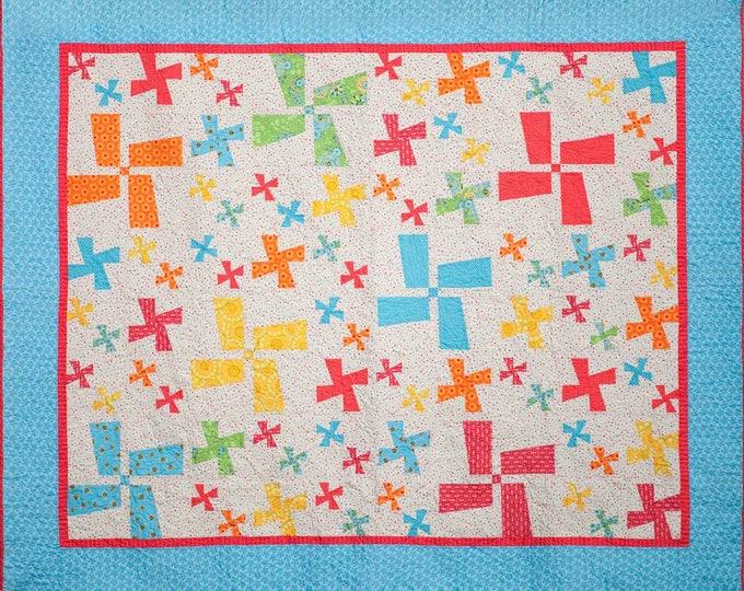 Let's Go Dutch pinwheel, patchwork, beginner, quilt pattern