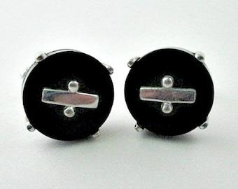 Sterling Vintage Cuff Links Cufflinks - Silver Black Cufflinks - Vintage Men's Unisex Jewelry Gift