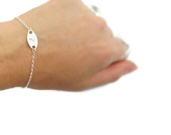 Silver bracelet. Personalized initial bracelet. Sterling silver bracelet. Letter bracelet. Bridesmaid gift. Gift ideas. Personalized jewelry