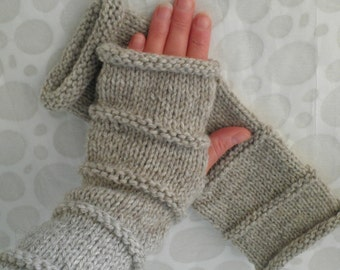 KNITTING PATTERN OSLO Fingerless Knit Gloves for Men and Women 3 Sizes and 3 lengths Knit Straight