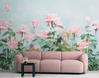 Vintage rose wallpaper romantic flower wall mural art ivory rose garden wallpaper gouache flower wall mural art aqua marine blue green pale turquoise pink wall decal summer home decor mightylinksfo