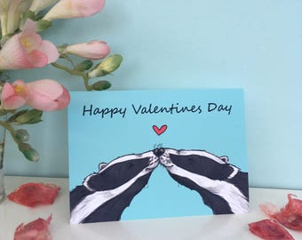Badger kisses valentines day card, A6 sized, cute badgers, wildlife greeting card, love card, boyfriend, girlfriend, animal lover
