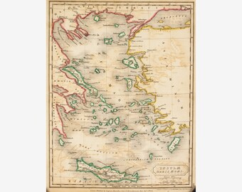 1822 Map of Europe - Original Antique Map - Hall - 10x8 - Aegean Sea - Engraved Map