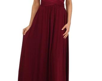 Wine custom made infinity dress. Floor length convertible wedding bridesmaid dress.Evening party prom dresses