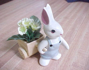Vintage Ceramic Bunny Rabbit Pulling a Cart, Childs Vanity Q Tip or Rubber Band Holder, Quality Nursery Knick Knack, Baby's Room Decor