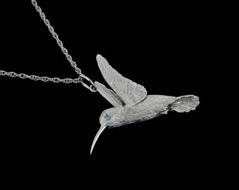 Small 14k White Gold Hummingbird with Blue Diamond Eye Pendant or Necklace (Optional Chain)
