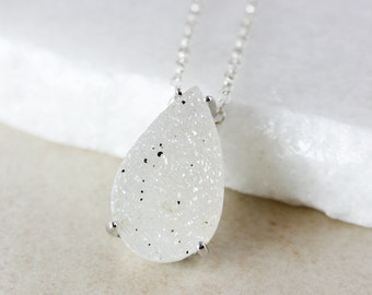 50% OFF SALE - White Teardrop Druzy Necklace - Choose Your Druzy Pendant - 925 Sterling Silver