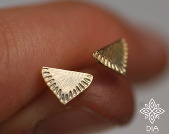 Gold stud earrings, Single or Pair, Solid Gold Stud Earrings,Weeding Gold Stud Earrings,Tribal Stud Earrings, Indian Post Earrings, 14k gold