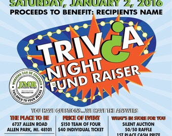Trivia Night Fundraiser Flyer, Benefit Flyer, Trivia Game Fundraiser
