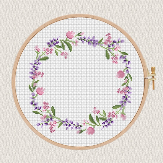 Modern Cross Stitch Pillow : flowers cross stitch pattern Lavender Helleborus floral wreath