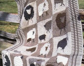 Farm Animals Afghan Knitting Pattern Lamb Sheep Fox Afghan Blanket Knitting Pattern PDF Instant Download