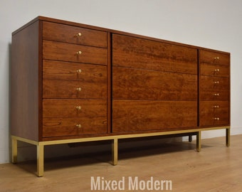 Paul McCobb Style Cherry and Brass Dresser