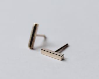 Gold Bar Earrings 9ct Gold - Simple Gold Earrings - 9ct Gold Earrings - Gold Staple Earrings - Gold Studs 9ct - Minimal Earrings