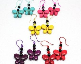 Butterfly Earrings, Howlite Butterflies, Red Butterflies, Pink Butterflies, Turquoise Butterflies, Purple Butterflies, Yellow Butterflies