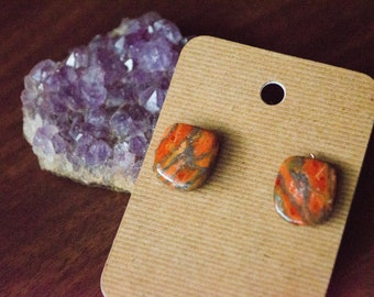 Mohave Coral & Zinc Cabochon Earrings on Surgical Steel Studs- OOAK Handmade Jewelry with an Eclectic, Hippie, Boho, Nature Vibe