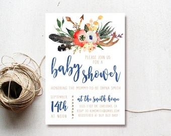 Baby Shower Invitation Boy, Woodland Baby Shower Invitation, Arrow, Printable Invite (518)