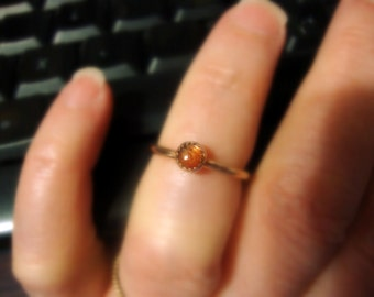 Sunstone Ring Golden Orange Shiller Ring 4mm - Eco-friendly recycled 14k/20 yellow gold filled  READY to mail Clearance Sale Size 4.75