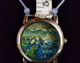 Claude Monet's Pond with Waterlilies  Repurposed Watch face Necklace