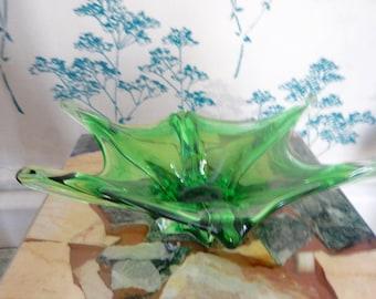 Murano Glass Bowl - Green - Mid Century