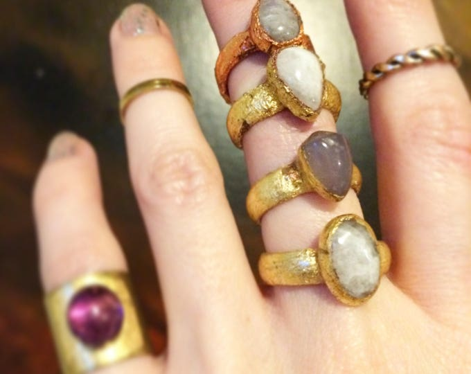Moonstone Gold and Rose Gold Ring, Size 4.25, 4.5