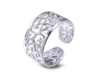 925 solid Sterling Silver Filigree Toe Ring