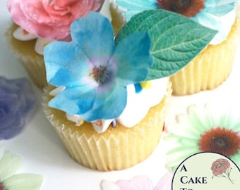 Edible flowers, 24 wafer paper flowers and leaves for cake decorating and cupcake decorating, mothers day cake decorations